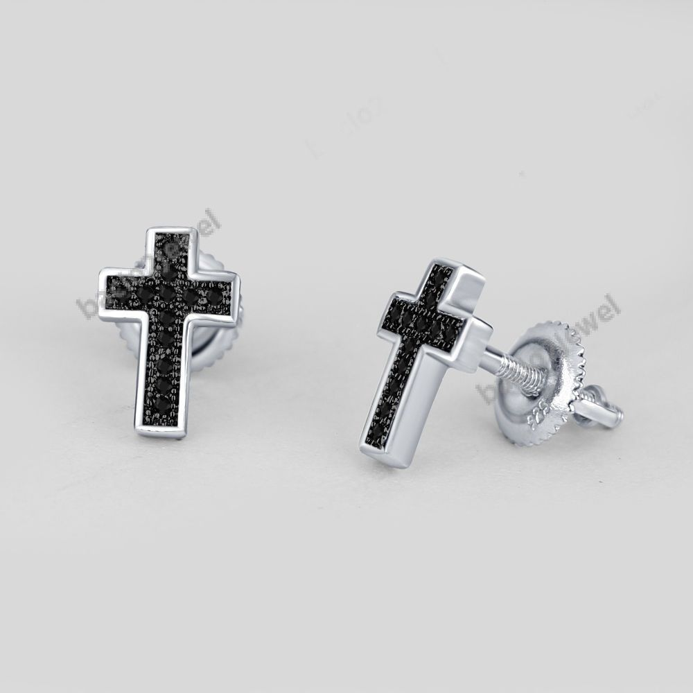 Men S Women 0 10 Ct Diamond Cross Design 14k White Gold Plated Stud Earrings Bacio2jewel