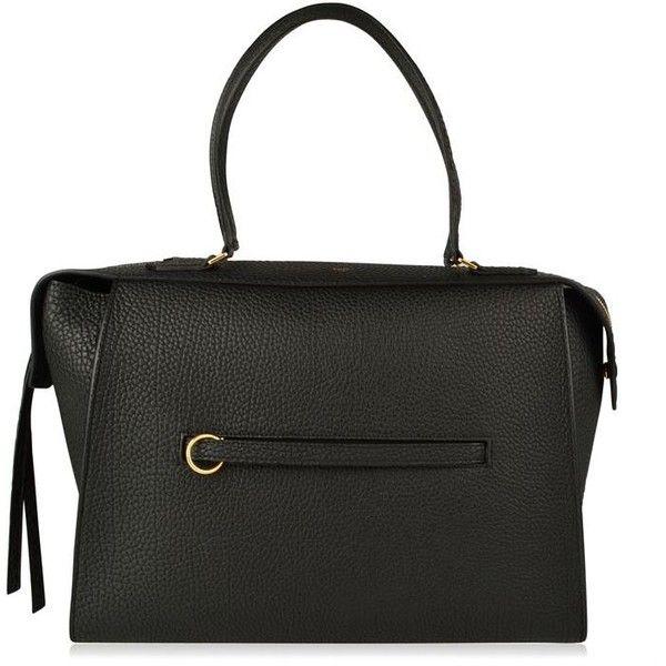 Celine Leather Medium Bag ($1,545) ❤ liked on Polyvore featuring bags, handbags, black, leather purses, leather shopper handbags, leather shopping bag, real leather purses and celine purse