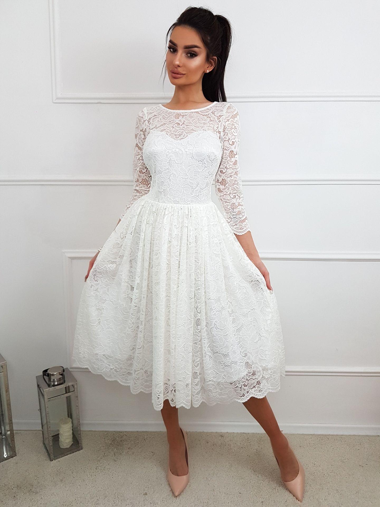 82dfa87b Carla- Koronkowa sukienka midi KM302-4 Niezwykle elegancka ...