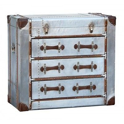 Superior Industrial Aluminium Silver Chest Of Drawers Aviator Vintage Luggage Style