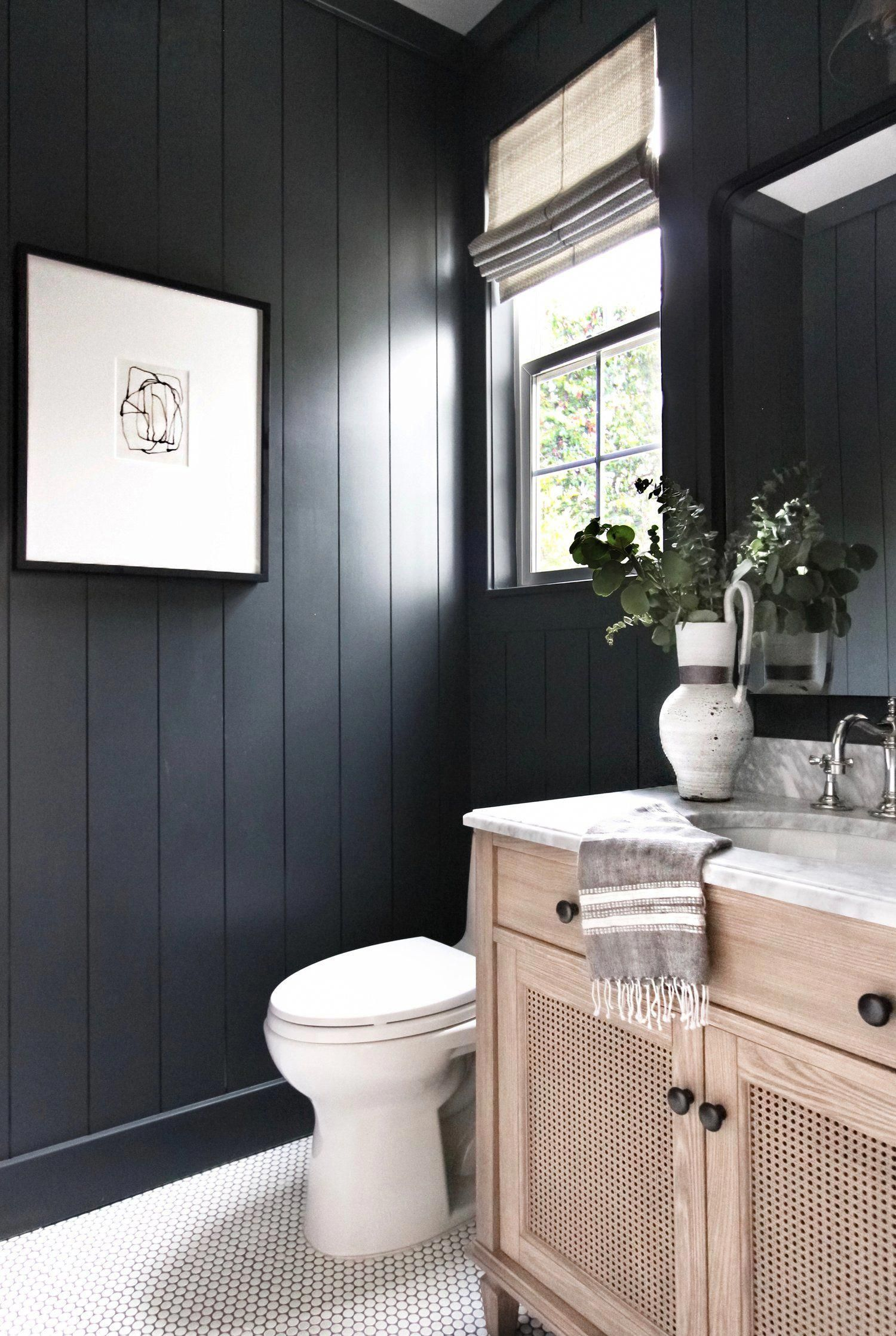Awesome Black Vertical Shiplap Walls In This Bathroom Or Powder Room With Penny Tile Floor And A Wood Cottage Style Bathrooms Bathroom Interior Black Bathroom