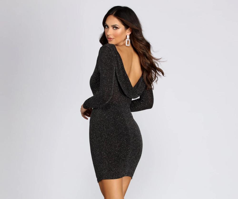 Showstopper Glitter Mini Dress In 2021 Long Sleeve Mini Dress Glitter Mini Dress Black Long Sleeve Mini Dress [ 838 x 1000 Pixel ]