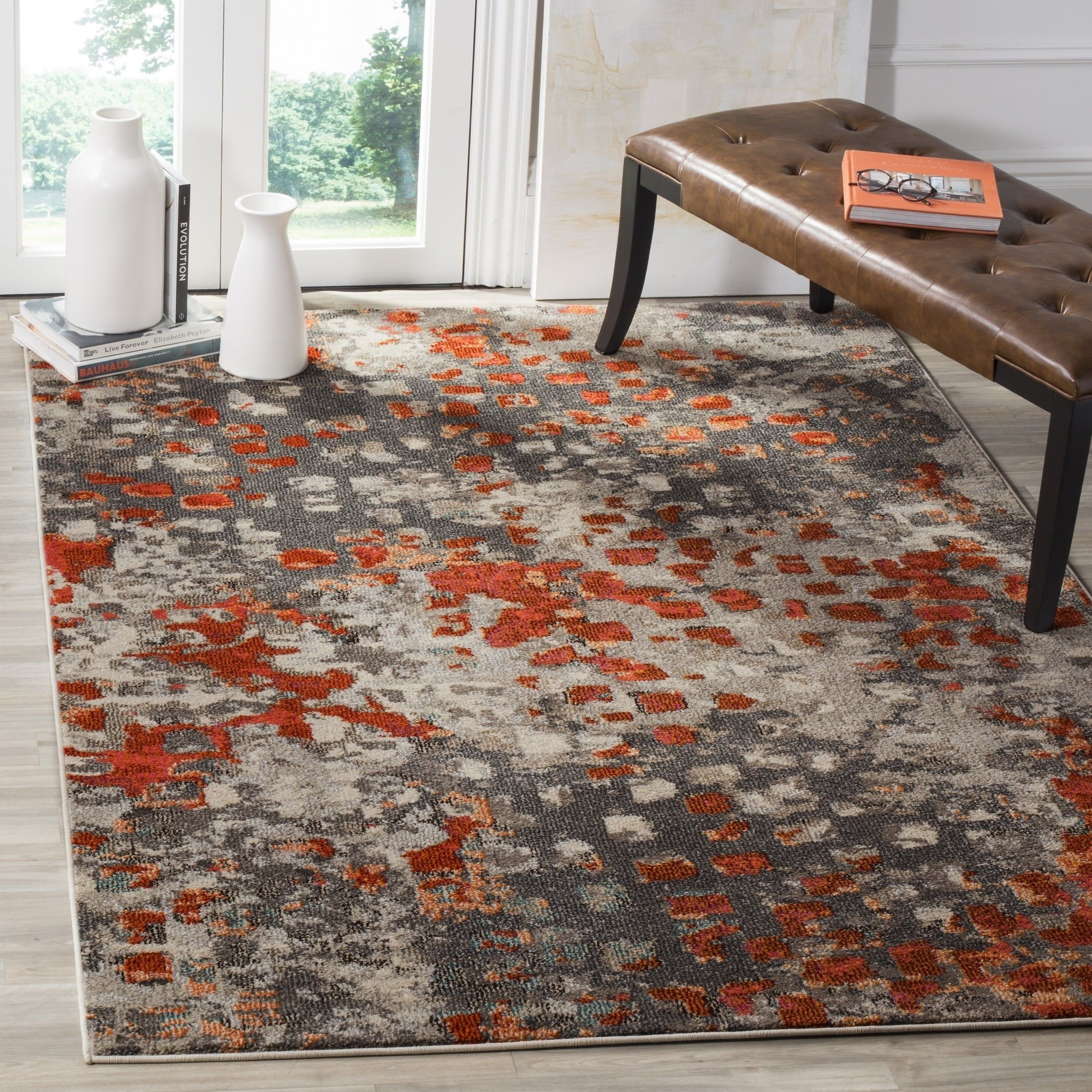 Safavieh Monaco Abstract Watercolor Grey Orange Distressed Rug 10 X 14 Mnc225h 10 Size 10 X 14 Products Orange Rugs Area Rugs Colorful Rugs
