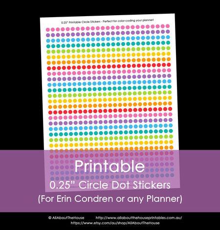 Printable Calendar / Planner Stickers - Quarter (025\ - Daily Calendar Printable
