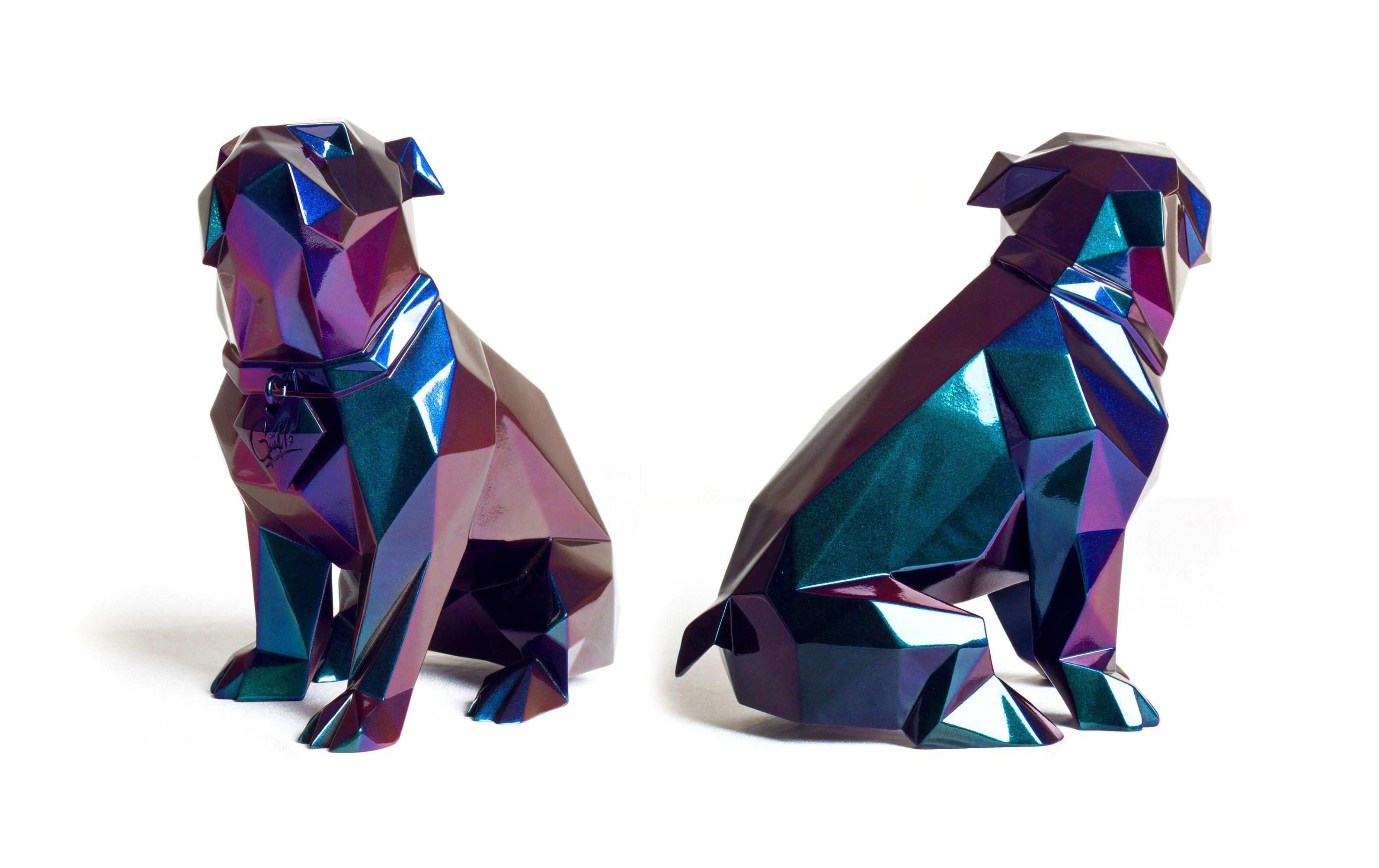 Poly Doggy Escultura polígonal de Bulldog ingles, resina