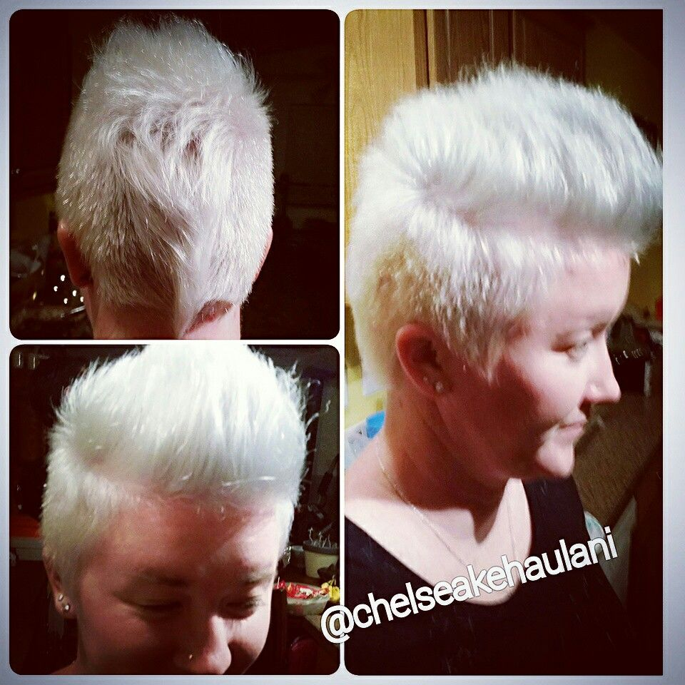 Bad ass icy white mohawk pixie cut short hair whitemohawk