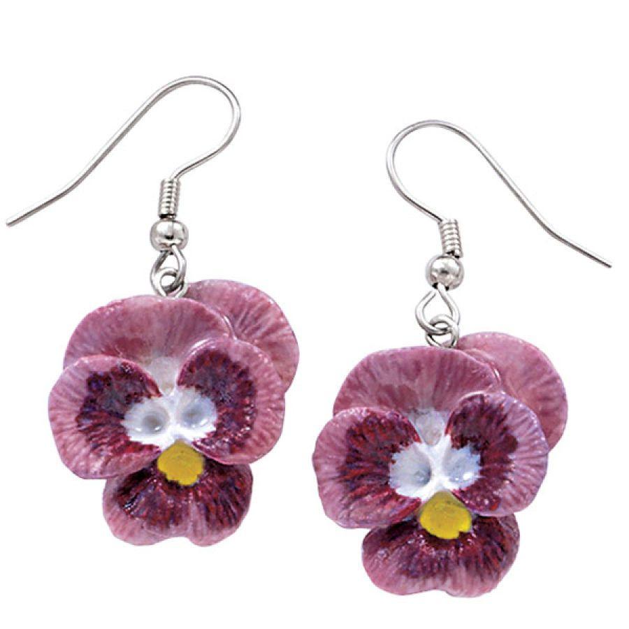 Handpainted Porcelain Lavender Pansy Earrings