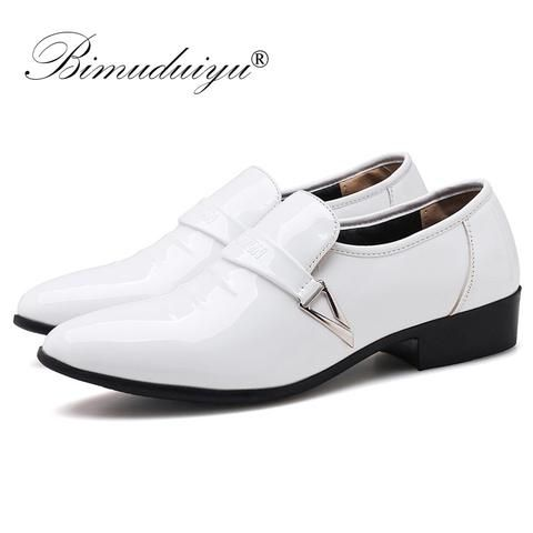 991d14a6bb5 BIMUDUIYU Men Quality Patent PU Leather Dress Shoes Slip On Male Formal  Oxford Shoes Loafers Pointed