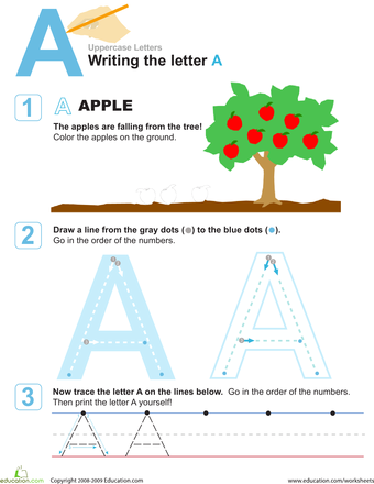 A Is For Apple Practice Writing The Letter A Free Alphabet
