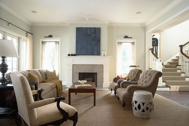 Fireplace Surround Casual Living Rooms Traditional Design