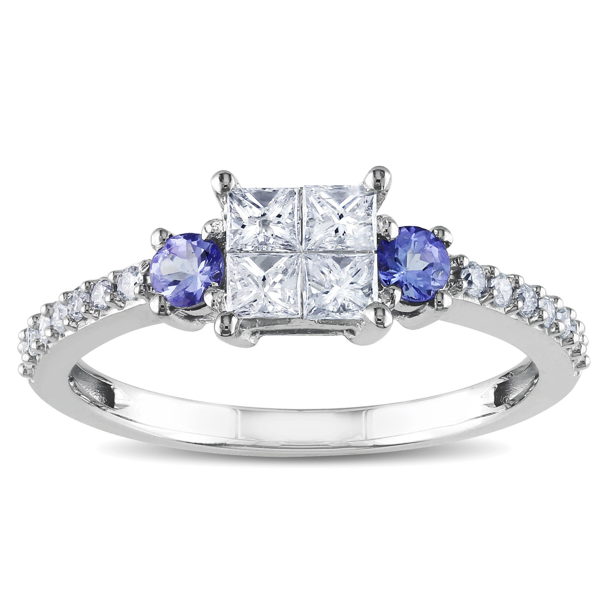 round carat cut in ct pretty tanzanite and white trillion k princess tw rings diamond gold ring