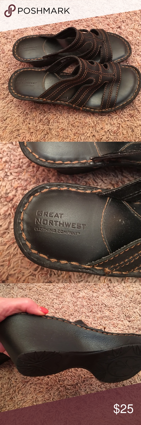 Great Northwestern Clothing Company  Black Sandal Leather upper...black with brown stitching sandal size 10 Shoes Sandals