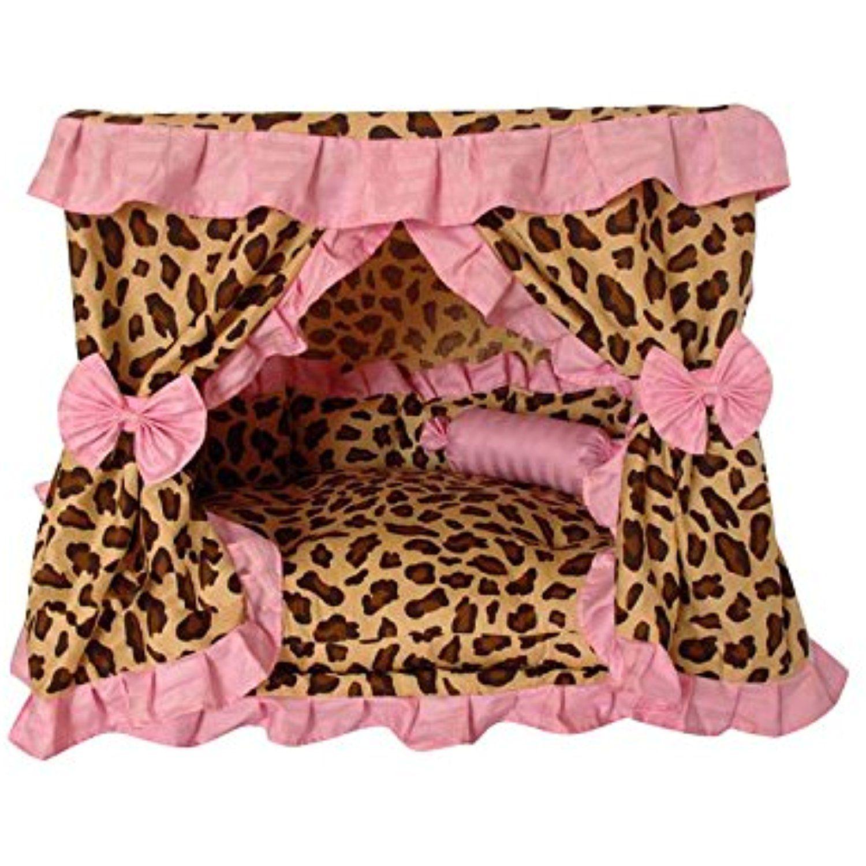 Princess Leopard Print Pink Ruffle Pet Dog Handmade Bed
