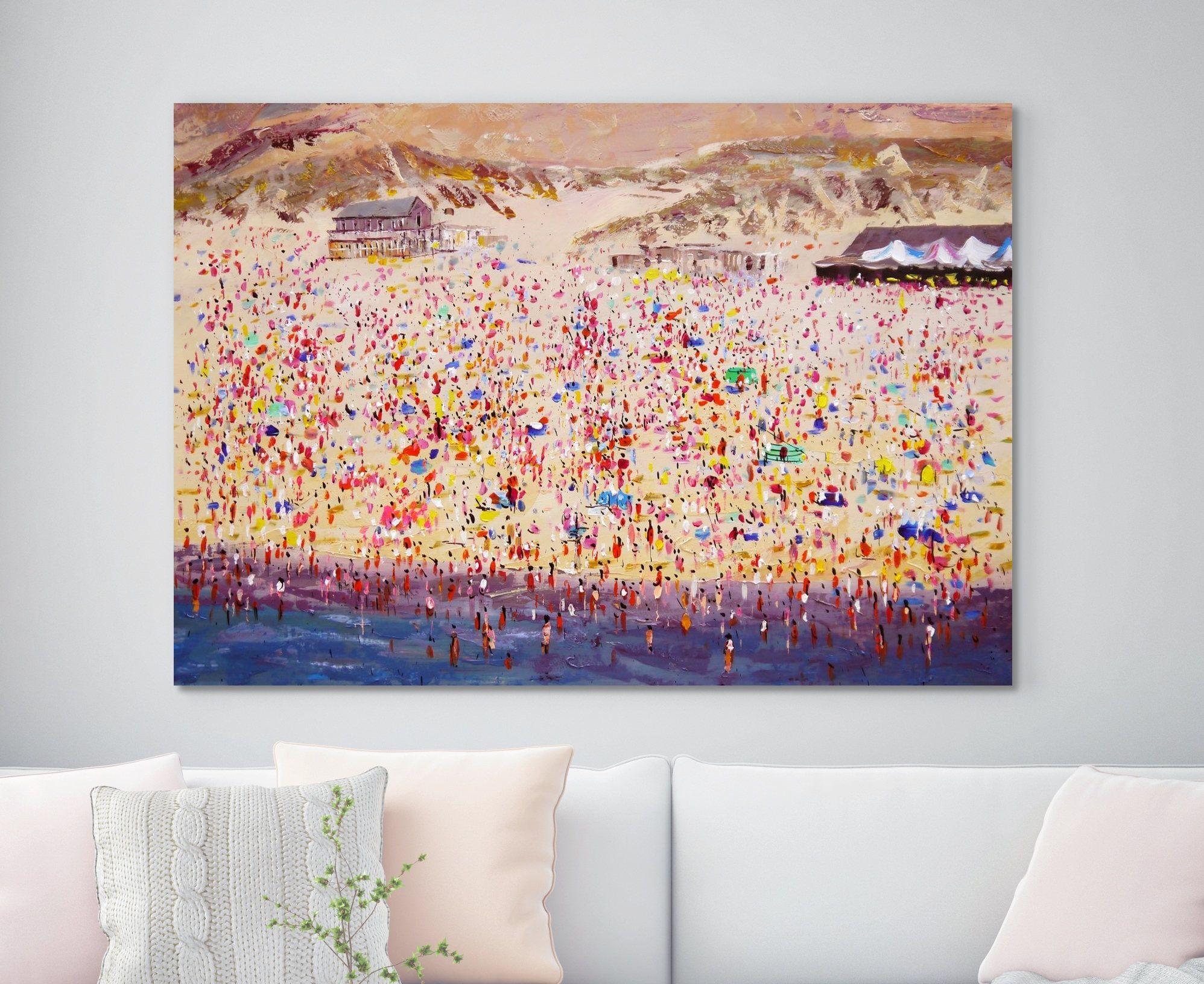Large original oil painting canvas wall art painting huge people seascape beach art landscape summer sand sunny 31 x 55 80 cm x 140 cm