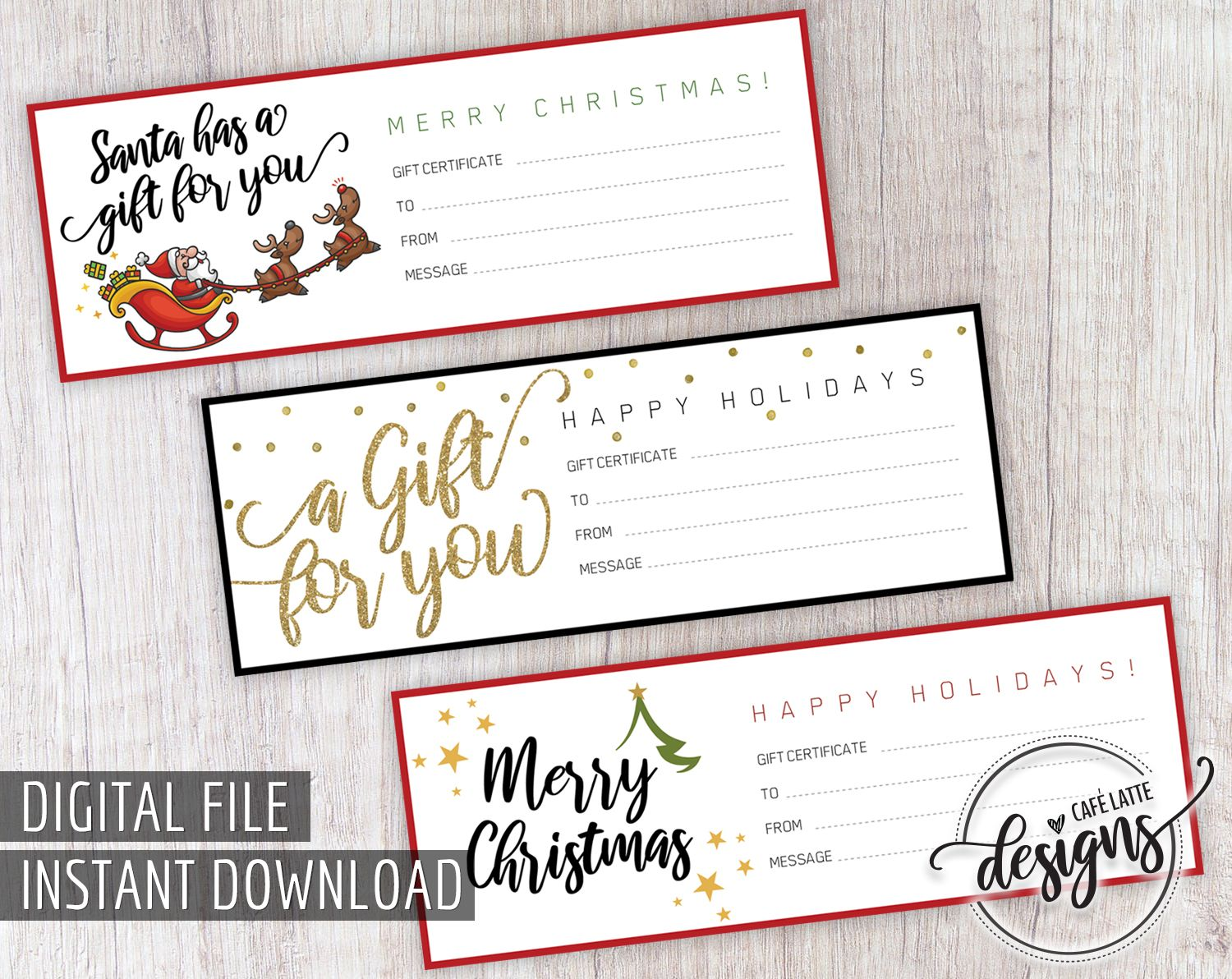 gift christmas printable certificate coupon holiday diy santa template templates sold etsy merry gifts