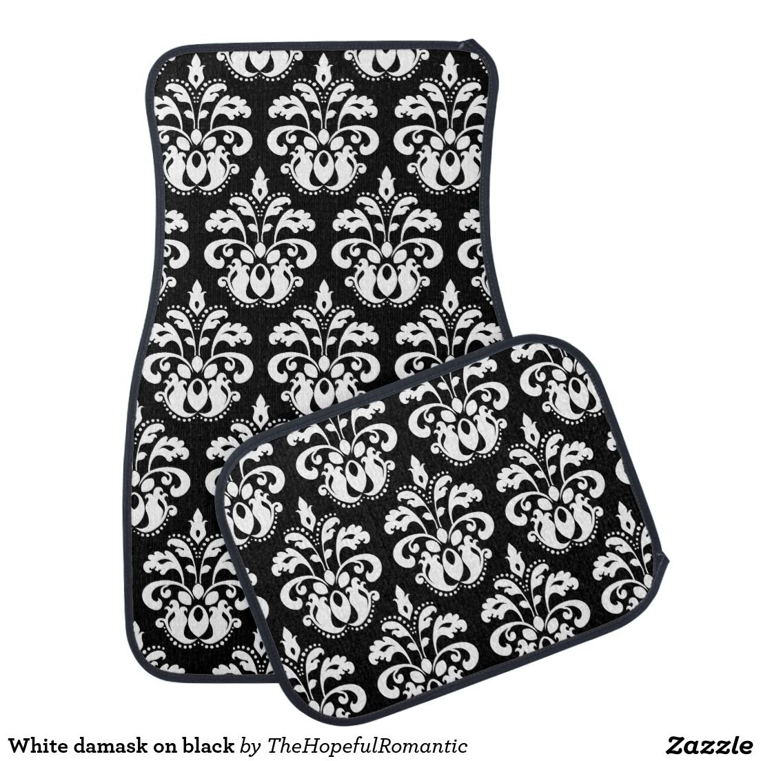 White damask on black car mat Artwork designed by Lori's creations
