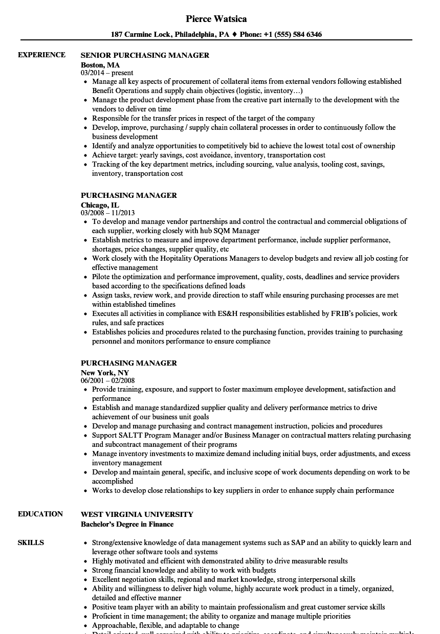 Purchasing Manager Resume Samples Resume Examples Manager Resume Job Resume Examples
