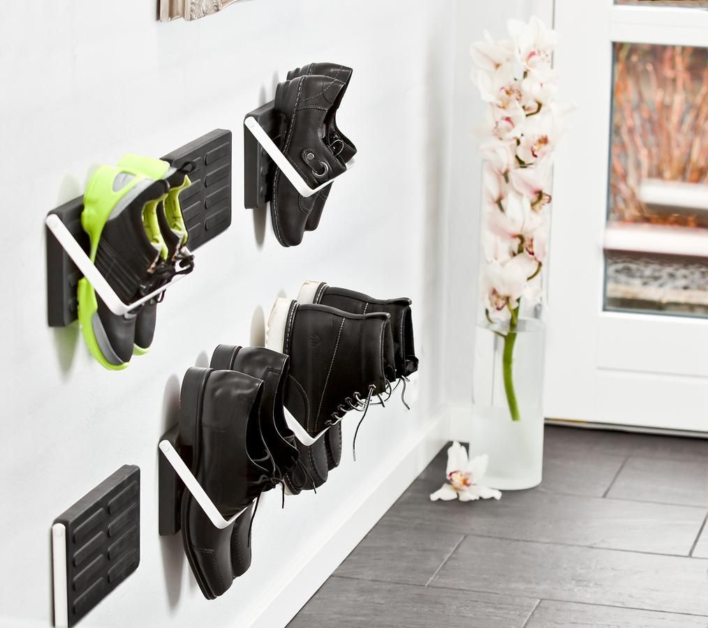 Wall mounted shoe storage single pair of shoes loca for Diy wall shoe rack