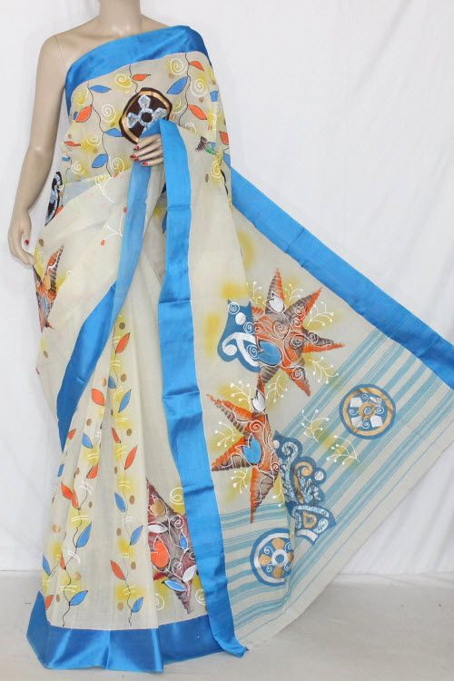 2fae4e46d6 Off-White Hand-printed Bengal Tant Cotton Saree (Without Blouse) 13911