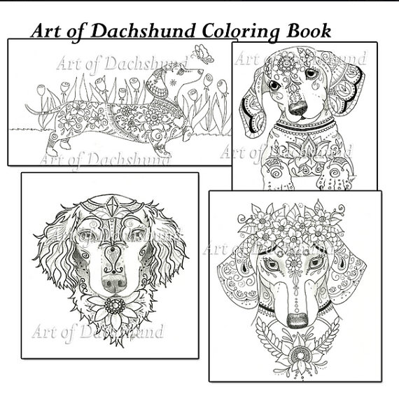 daschund coloring pages Art of Dachshund Coloring Book | Dachshund Coloring Book   Art of  daschund coloring pages