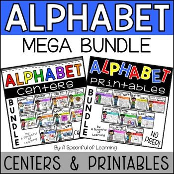 This Alphabet MEGA BUNDLE includes my Alphabet Printables NO PREP BUNDLE and my Alphabet Centers Bundle.  Students will have tons of FUN learning all about and mastering letters with these hands-on, interactive, and engaging activities. *Alphabet Printables Information:These activities require NO PREP!