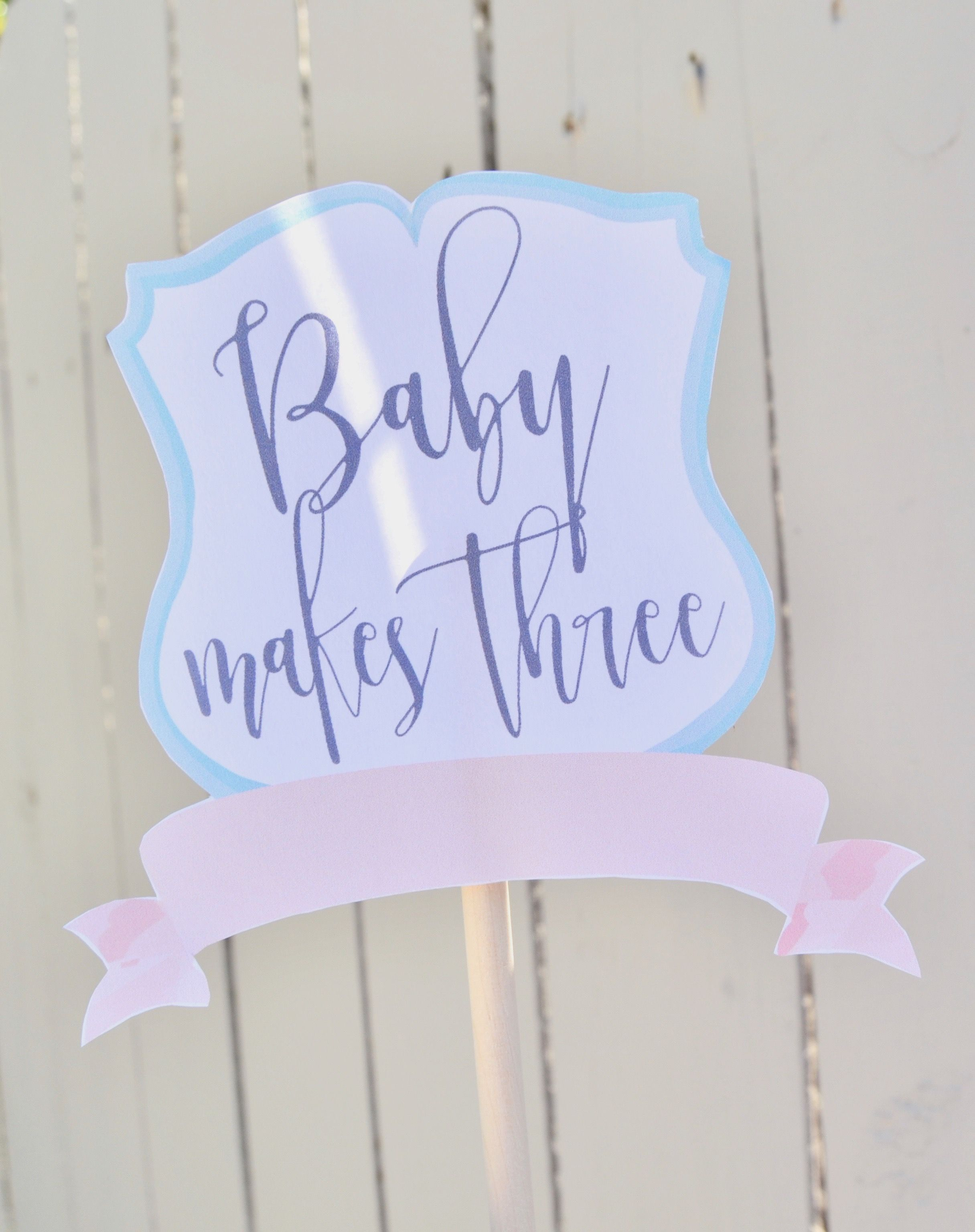 Baby makes three cake topper - baby makes 3 cake topper - printable ...