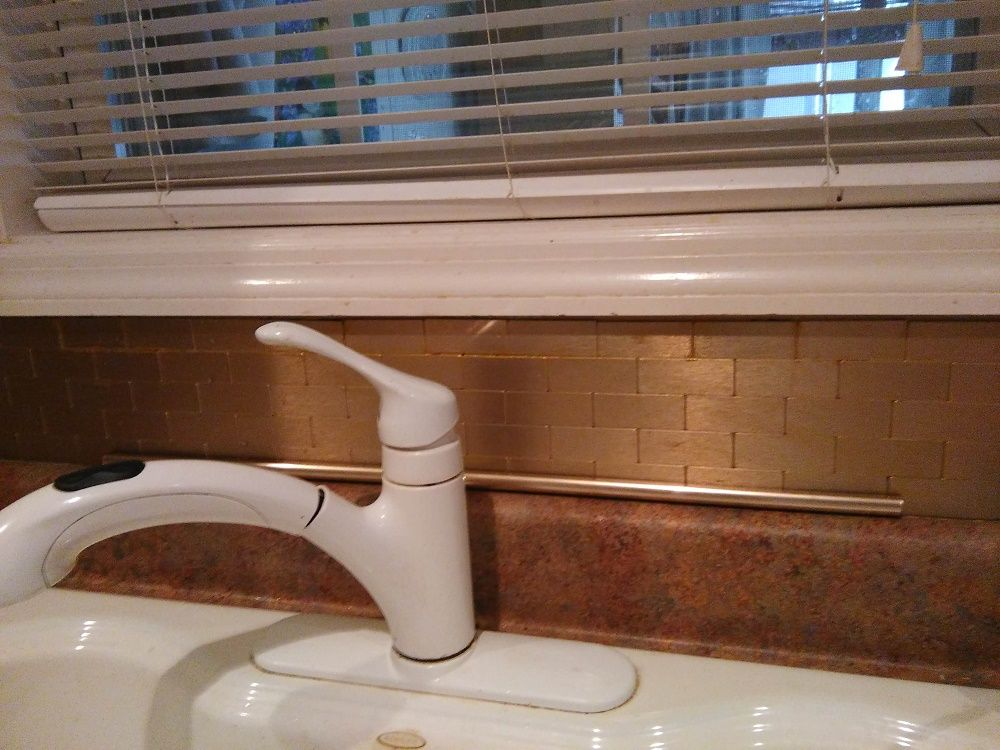 """Thank you Carol from Texas for the beautiful picture of your recent renovation! """"Did it myself,  lovely mini subway Champagne backsplash..."""" Great work Carol!"""