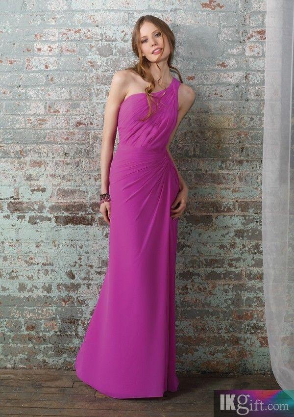 Sheath One-Shoulder Floor-length Chiffon Bridesmaid Dress - Wedding ...