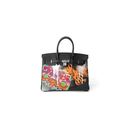 Customized Birkin with graffiti art