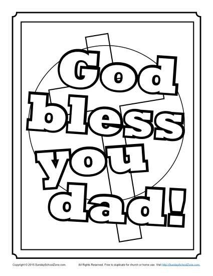 God Bless You Dad Coloring Page Fathers Day Coloring Page