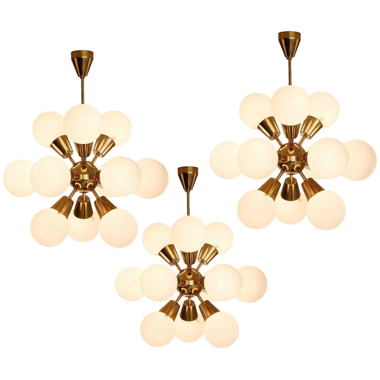 Set of three sputnik chandeliers in brass lighting pinterest