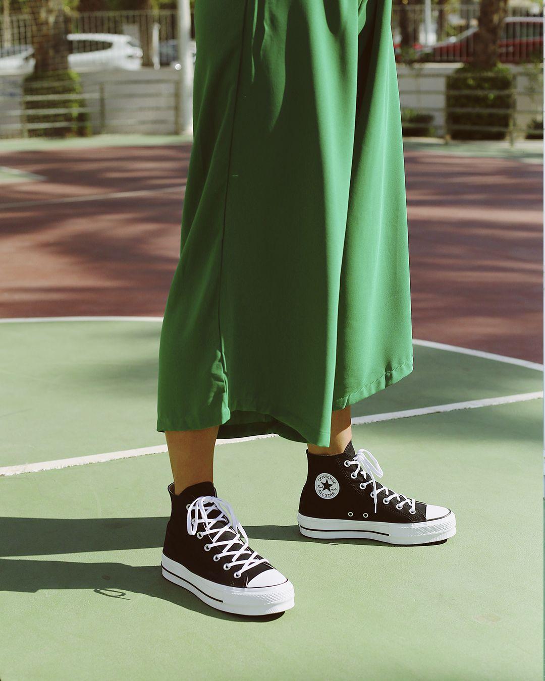 converse verdes plataforma mujer