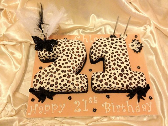 Leopard Print 21st Cake With Images Happy Birthday Cake