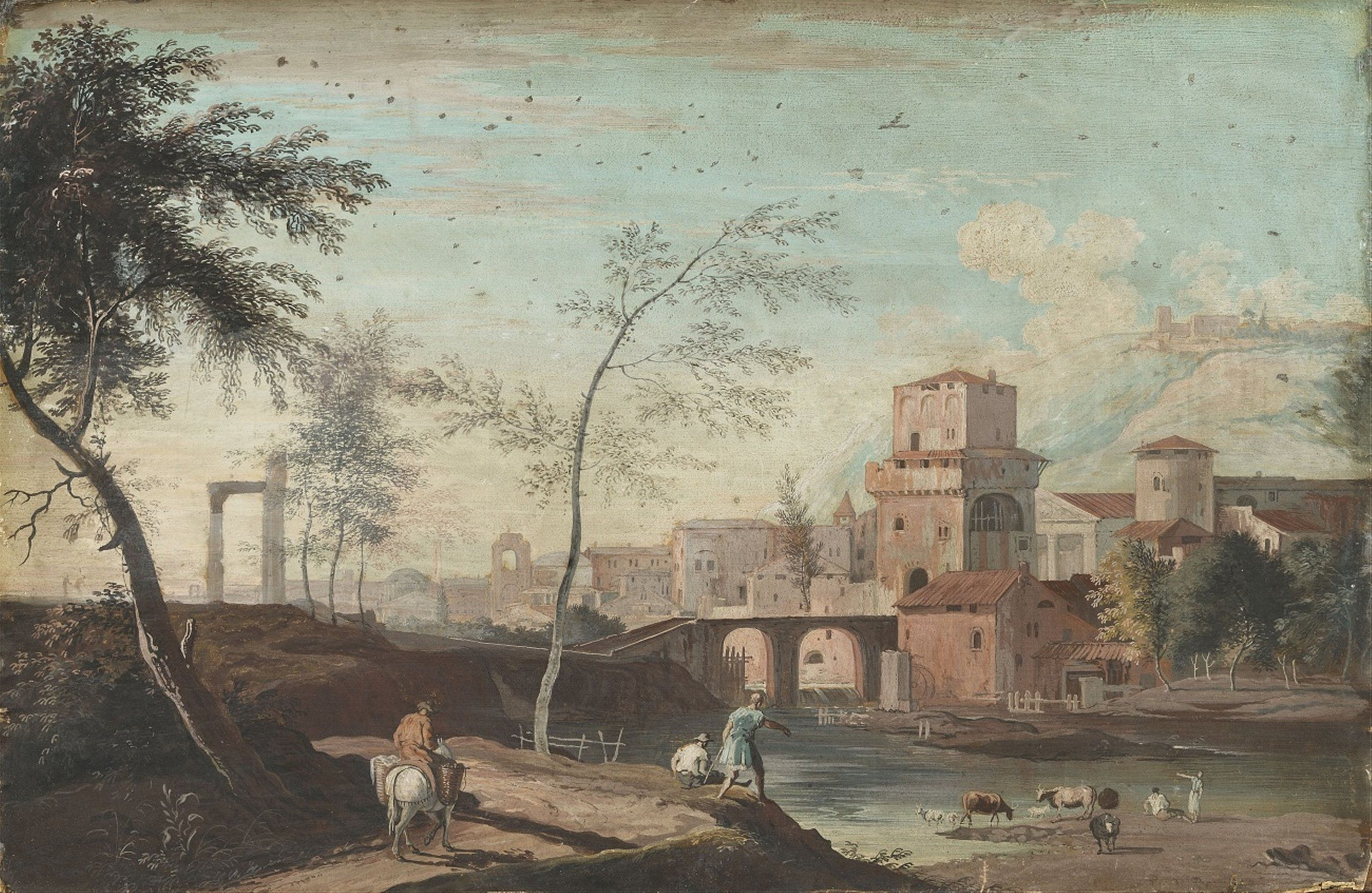 Marco Ricci, Travellers by a Mediterranean Harbour A Southern Veduta ...