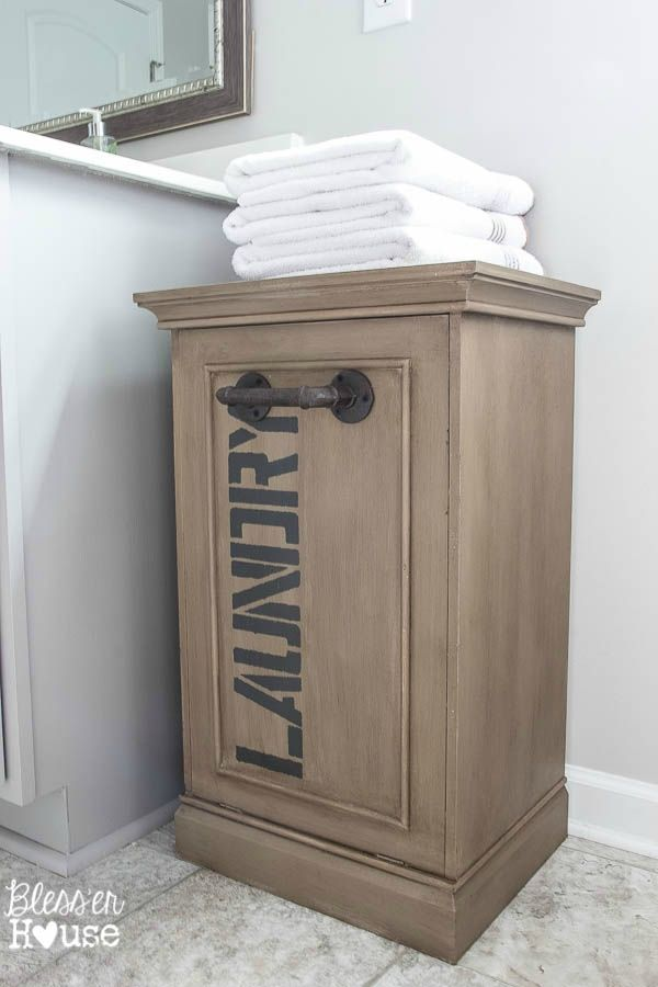 Industrial Style Laundry Hamper Makeover With Images Wooden
