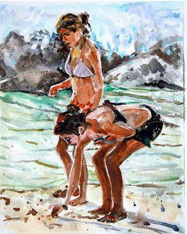 ''Two Beach Girls'' by Gwen Meyerson
