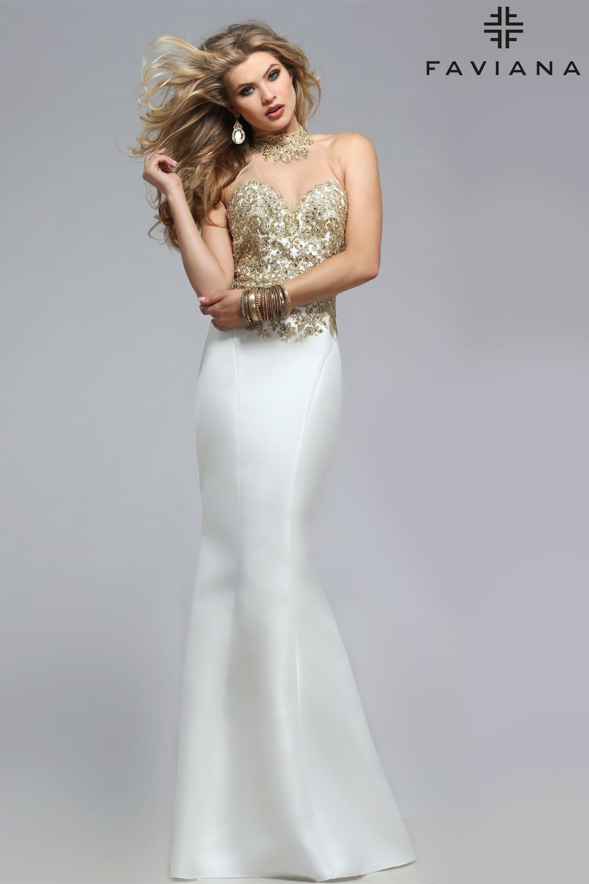 Frosted satin illusion jewel neck with lace appliqué faviana style