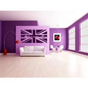 Union Jack with London Skyline Wall Stickers Wall Art Decal - United Kingdom - People & Places
