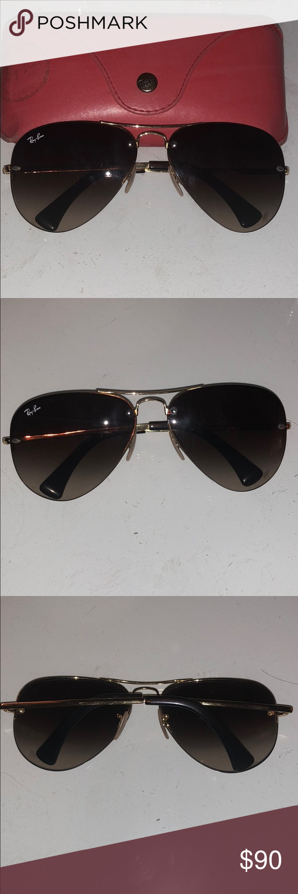 953e7e2158e Authentic Ray-ban gold frameless sunglasses Authentic Women ray-ban gold  frameless aviator sunglasses. Fairly worn condition but still great quality  !