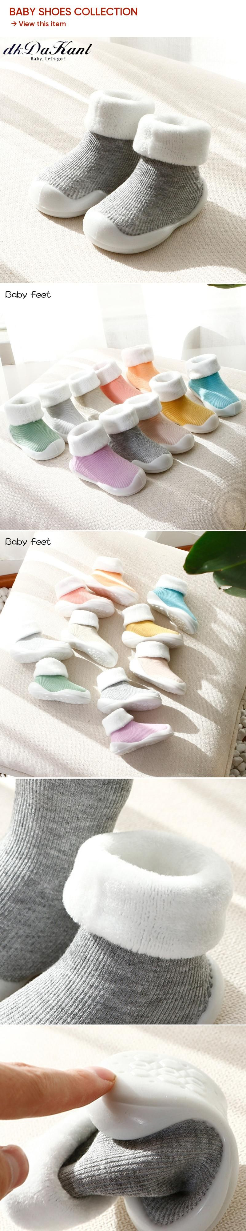 dkDaKanl 1 pair solid anti slip rubber sole shoes for baby Warm terry curling new born shoes infant Pink baby girl shoes 1 year