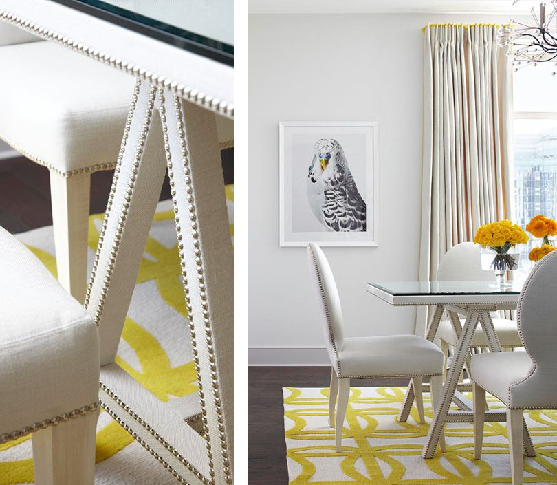 Traditional Chic Dining Room Gray Yellow Bird Photography Nalhead Trim