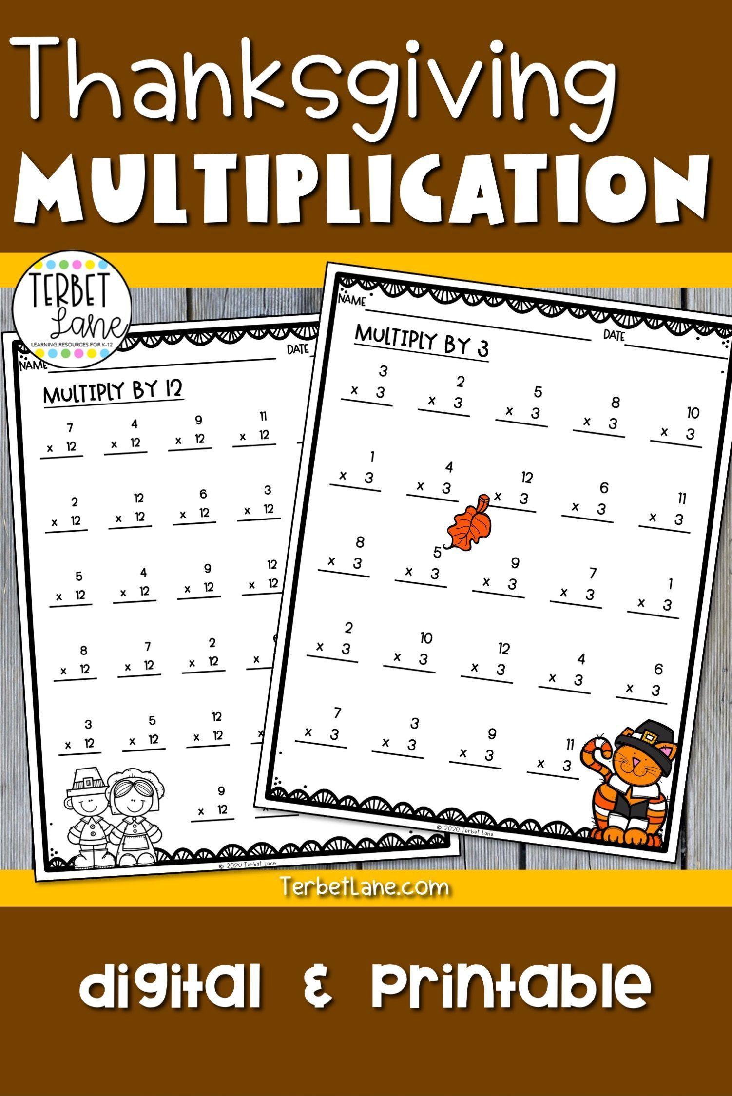 hight resolution of Thanksgiving Multiplication Worksheets \u0026 Digital Activities   Elementary  math