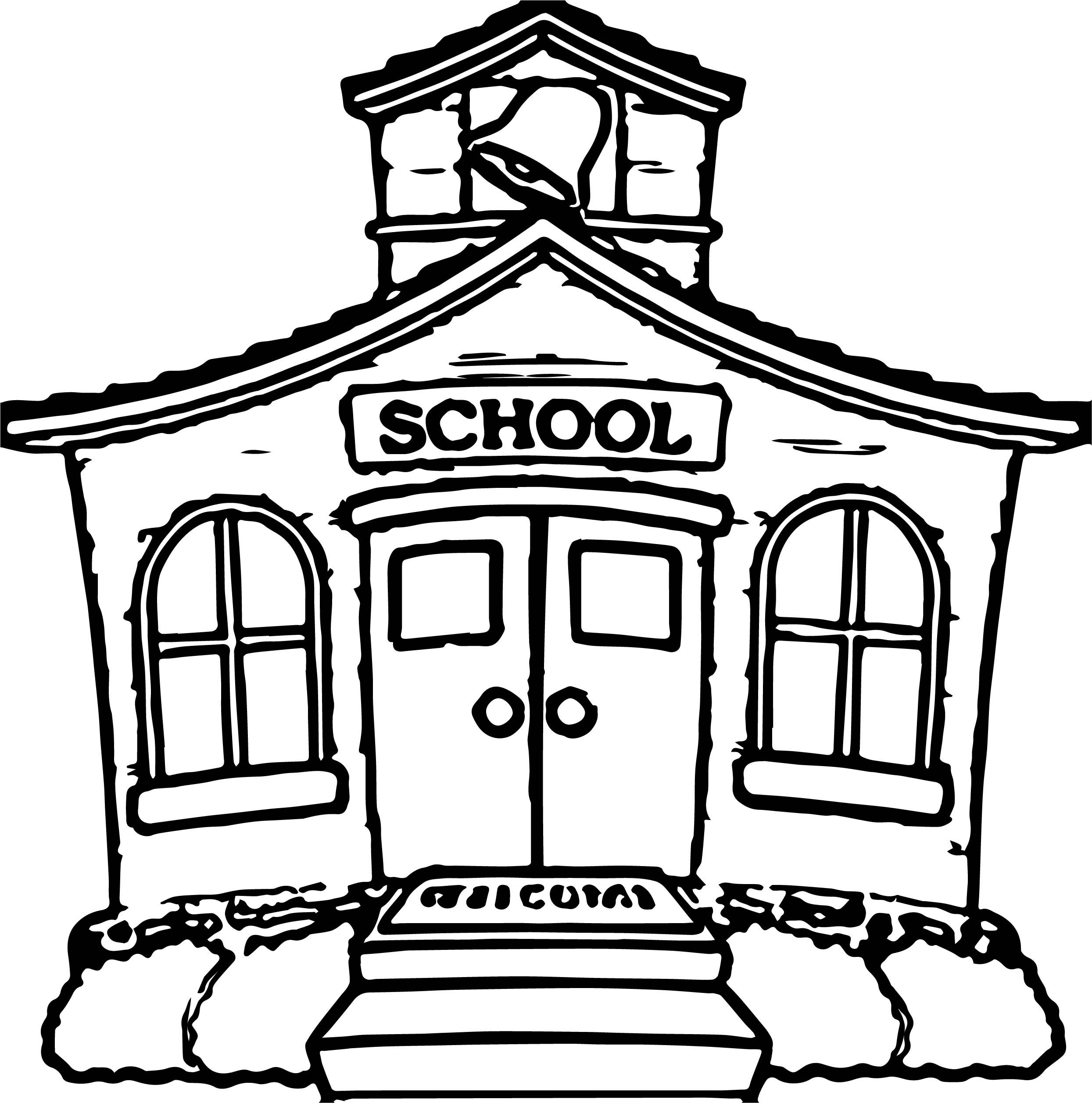 Cool Any School House Coloring Page School Coloring Pages
