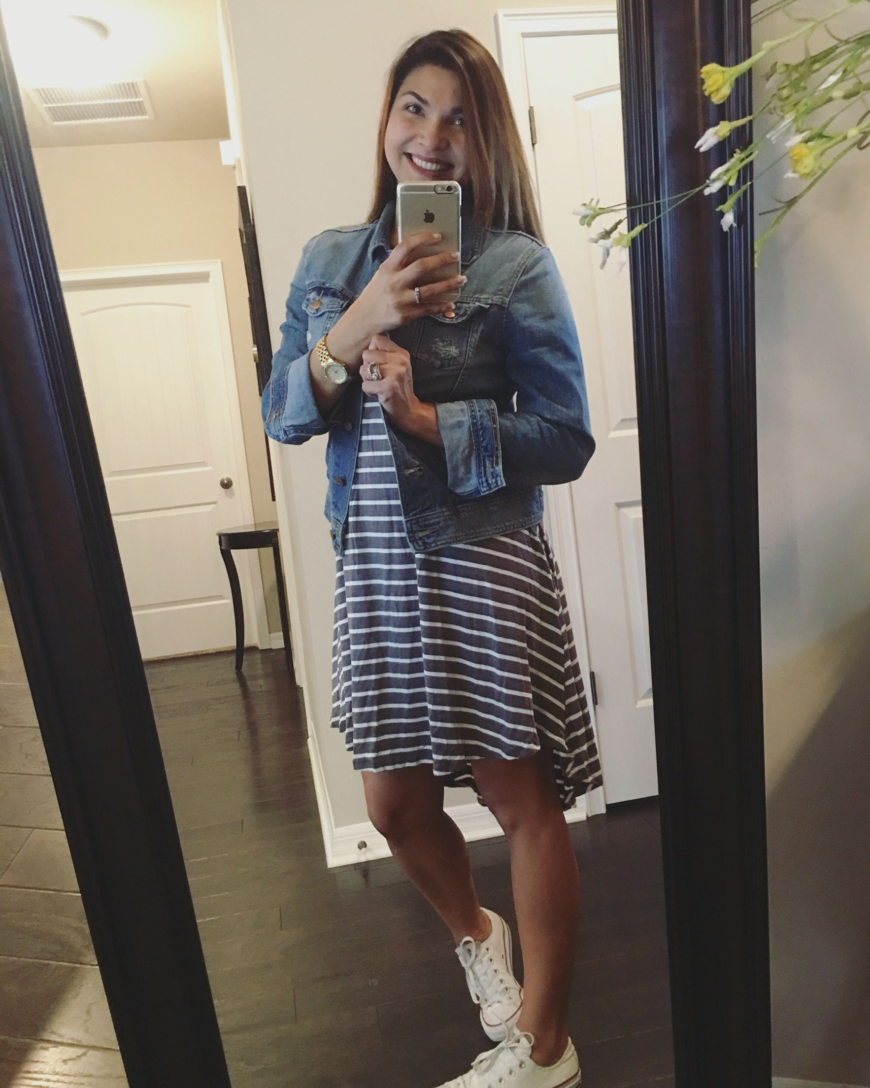 Basically looks like this dress denim jacket converse example - Carly Dress With Jean Jacket And Chucks Https Www Facebook Com
