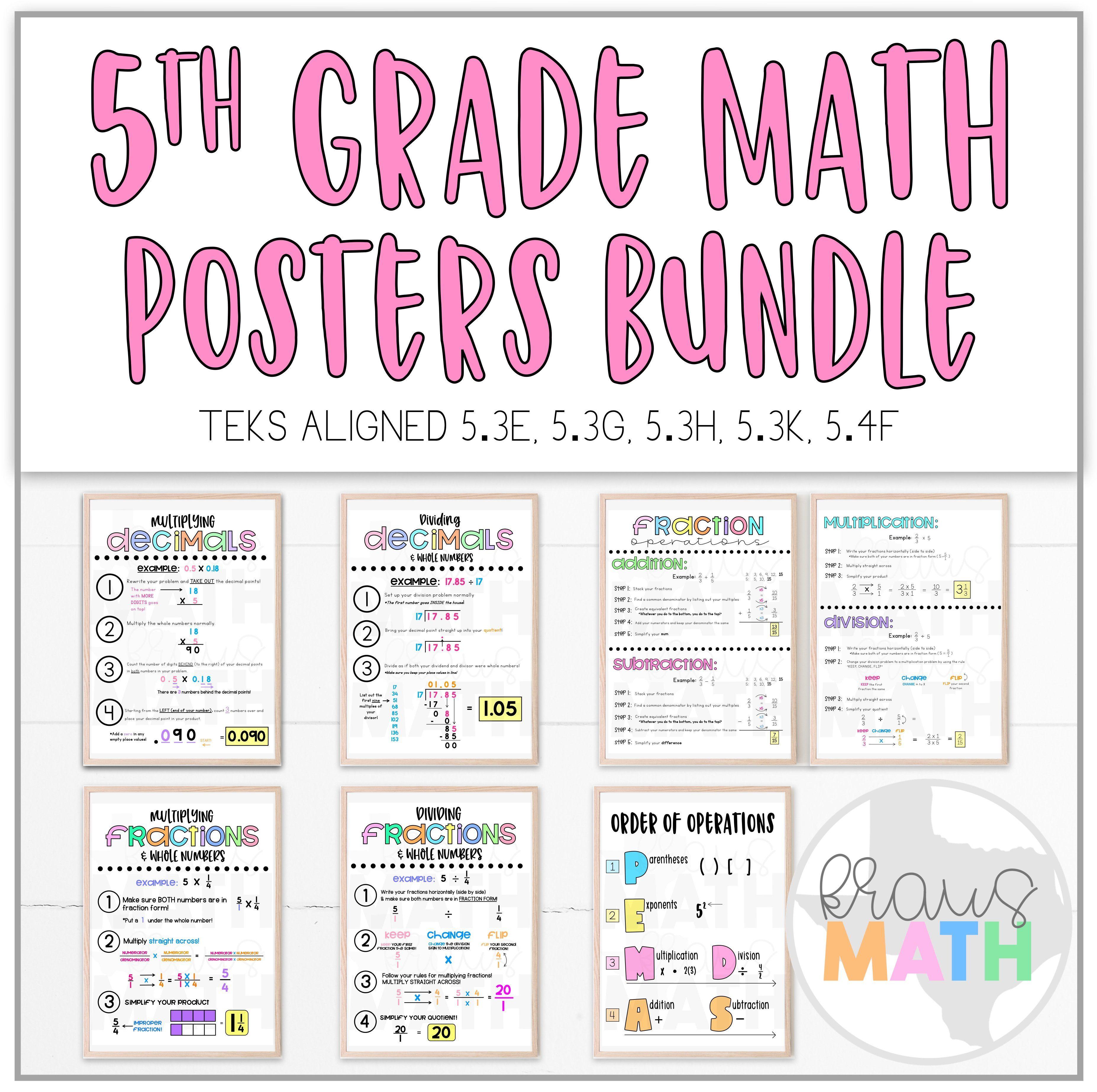 5th Grade Math Posters Bundle