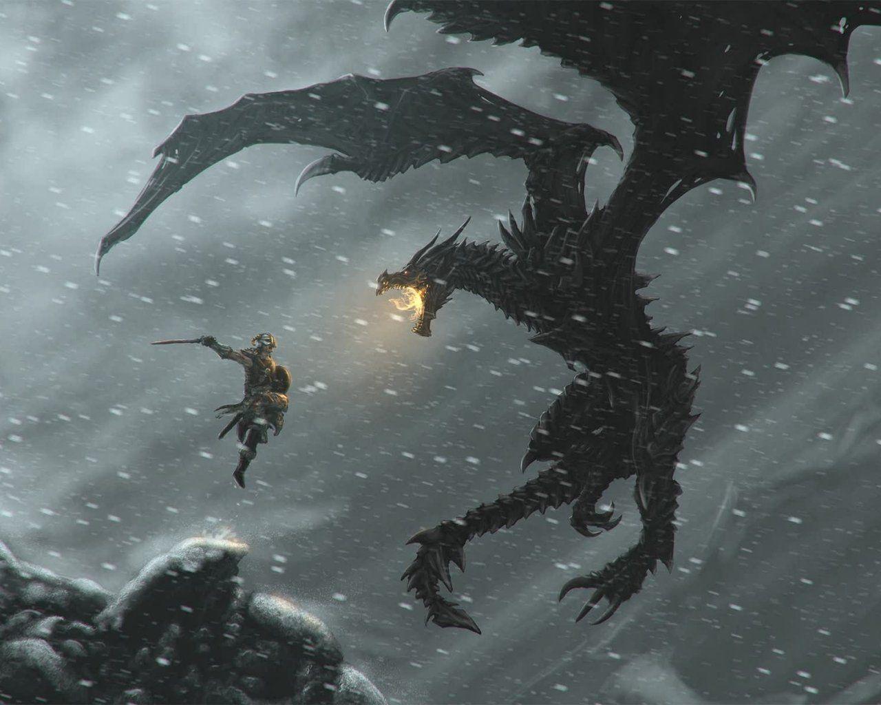 Luchando Contra El Dragon Dragones Fotos De Dragones The Elder Scrolls