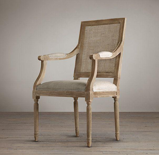 купить стул с подлокотниками Vintage French Cane Back Square
