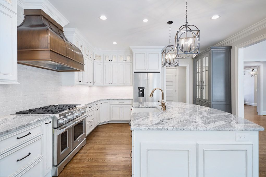 Dream Kitchen White Cabinets Gray Counters Gold Faucet And