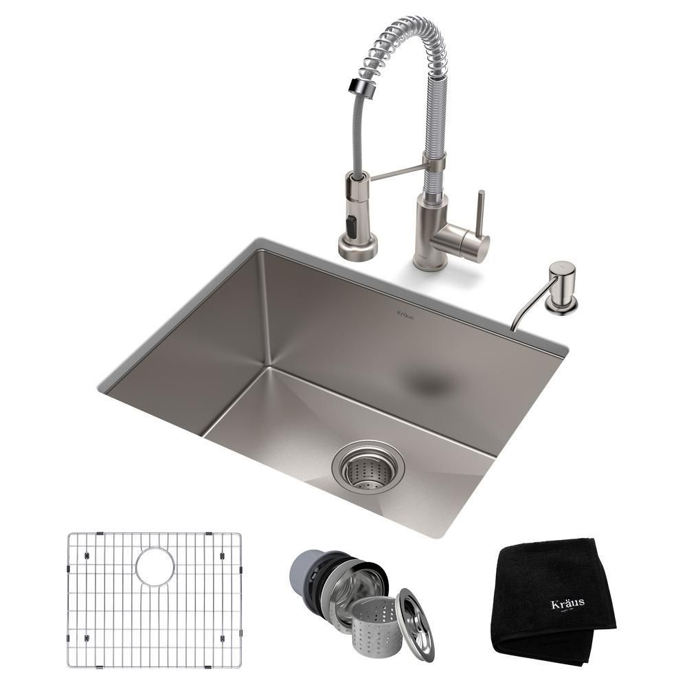 Kraus Standart Pro All In One Undermount Stainless Steel 23 In