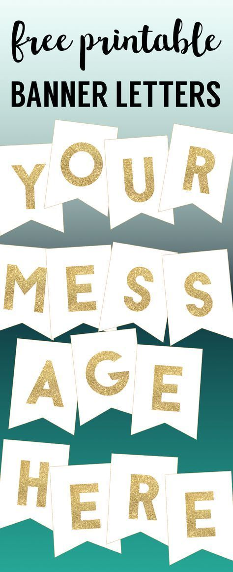 Gold Free Printable Banner Letters | Birthday banner free ...